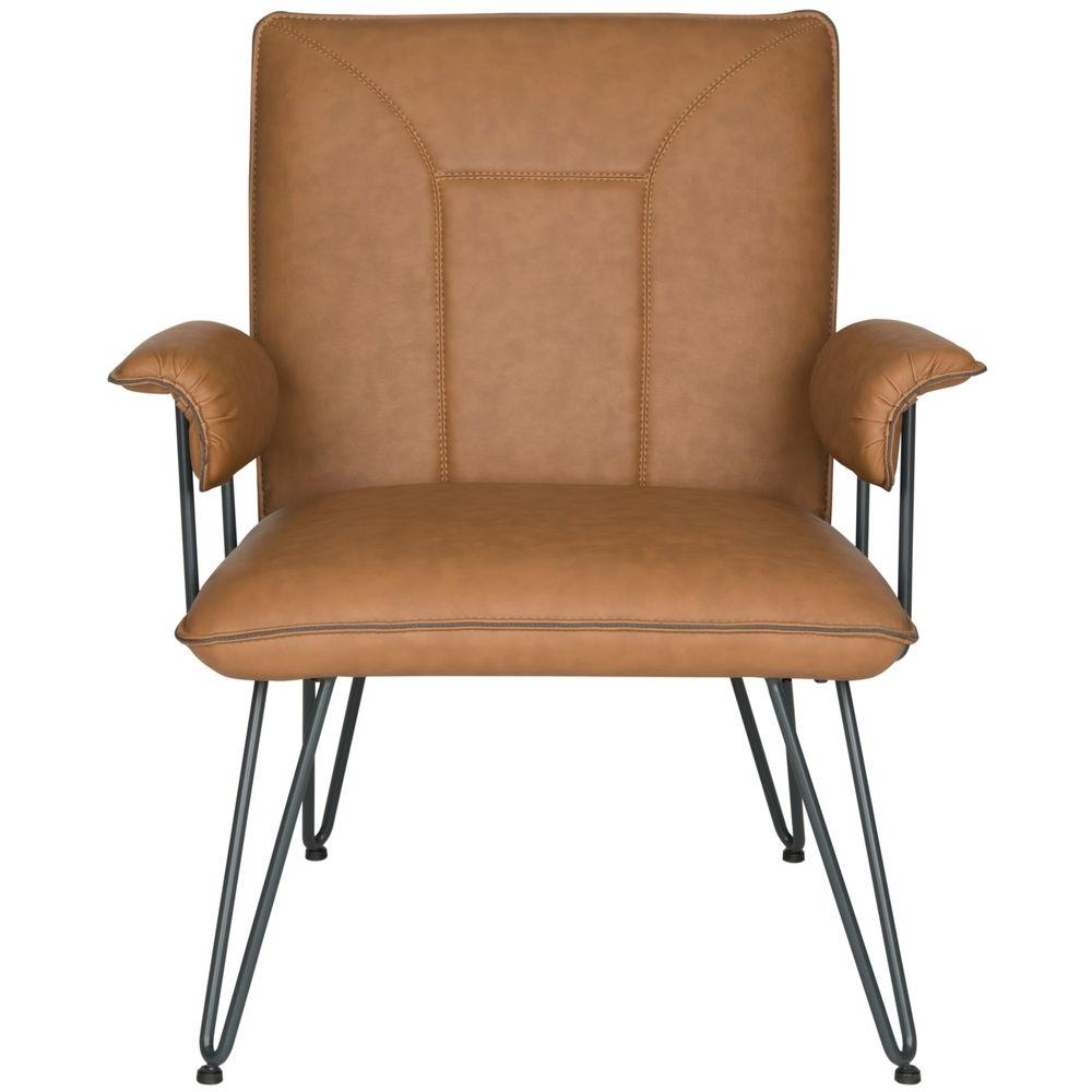 Arm Chairs Safavieh Johannes Camel Leather Arm Chair