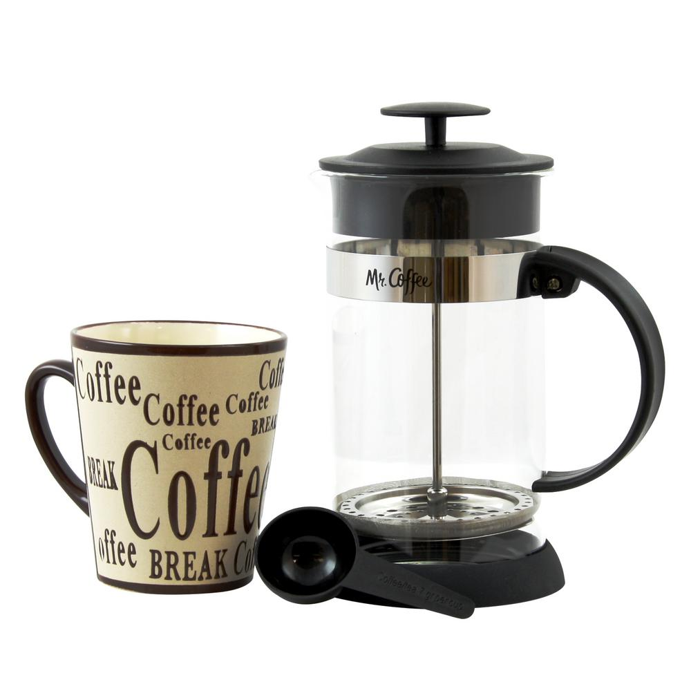 Mug A Cafe Caf Oasis 2 Piece 32 Oz Coffee Press And 13 Oz Mug Glass Coffee Press And Mug Gift Set