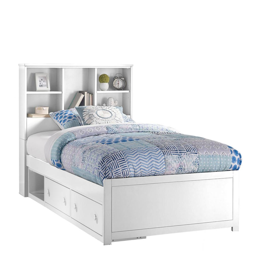 Bookcase Bed Caspian White Twin Bookcase Bed With Storage