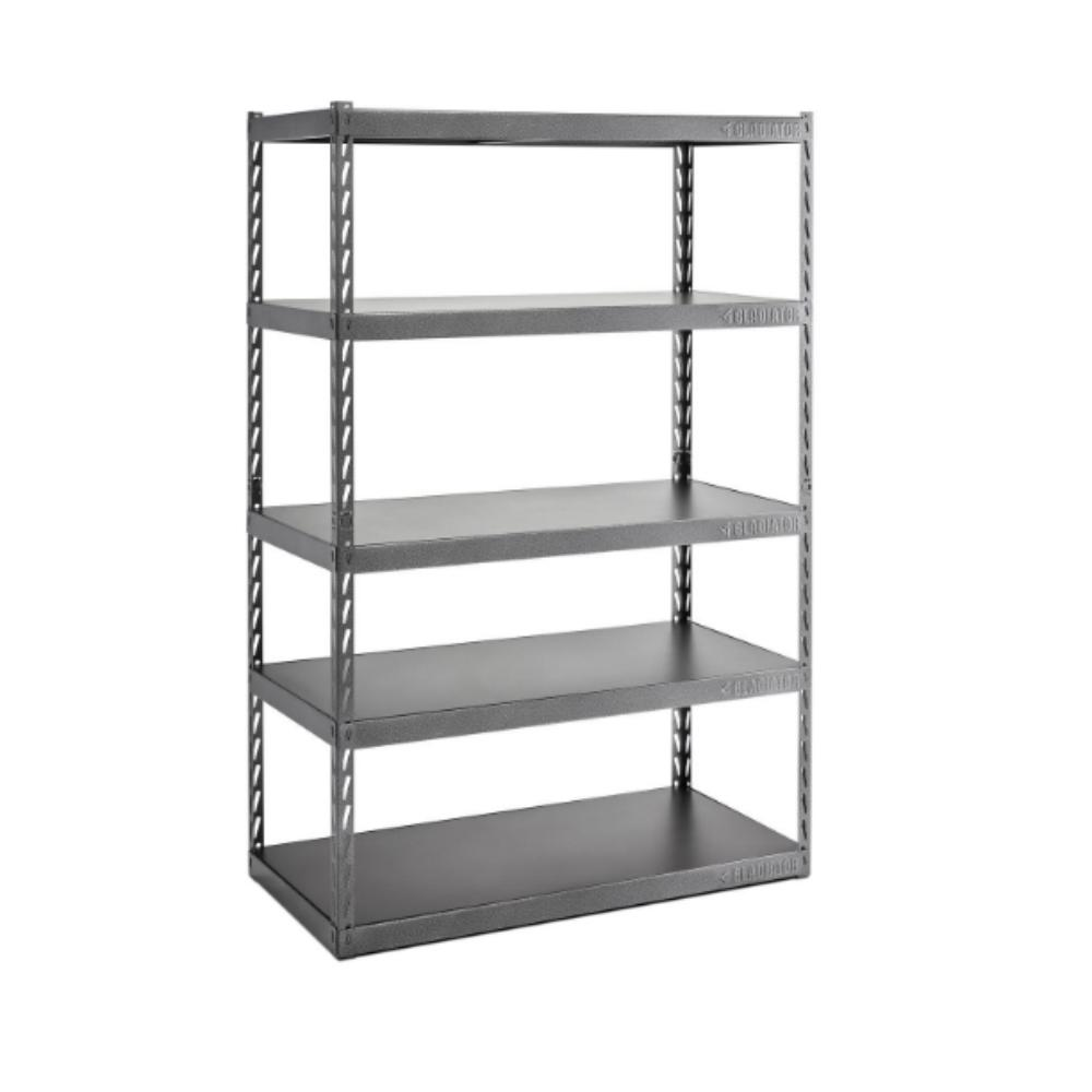 Metal Shelving Gladiator 72 In H X 48 In W X 24 In D 5 Shelf Steel Garage Shelving Unit With Ez Connect