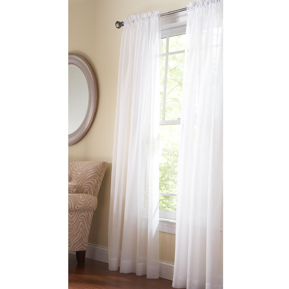 105 Inch Curtains Martha Stewart Living Fine Sheer Window Panel In Pure White 60 In W X 108 In L