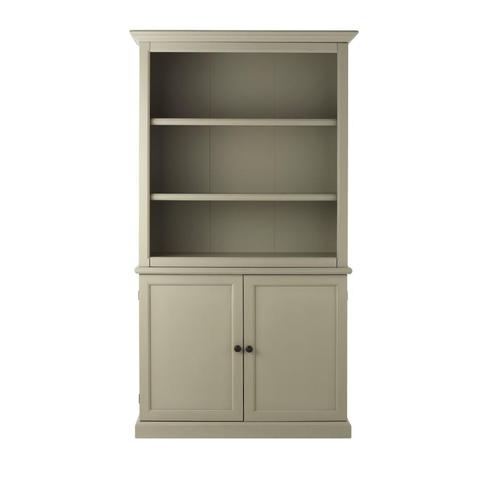 Bookcase Cabinet Ingrid Rubbed Gray 3 Shelf Open Bookcase With Storage