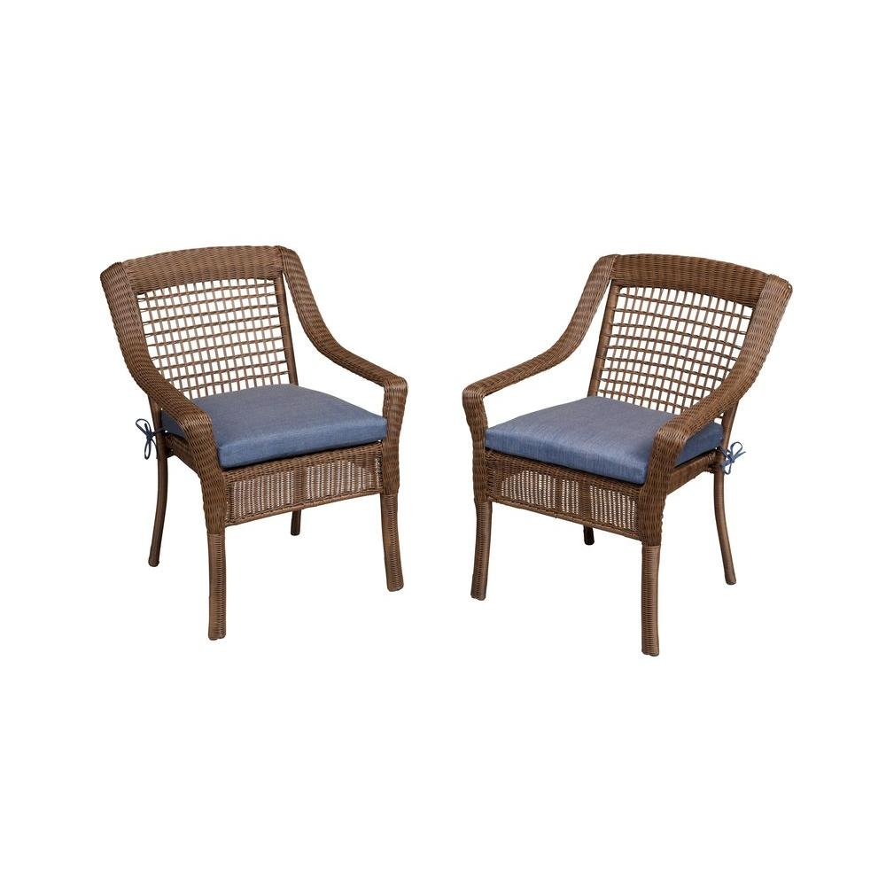 Rattan Chairs Hampton Bay Spring Haven Brown All Weather Wicker Patio Dining Chair With Sky Blue Cushion 2 Pack