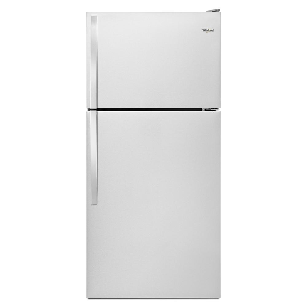 14 Cu Ft Refrigerator Whirlpool 14 Cu Ft Top Freezer Refrigerator In Monochromatic Stainless Steel