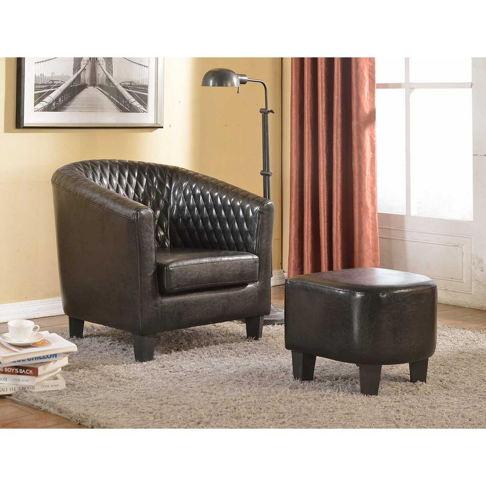 Chairs For Reading Corner Isabella Black Faux Leather Arm Chair With Ottoman