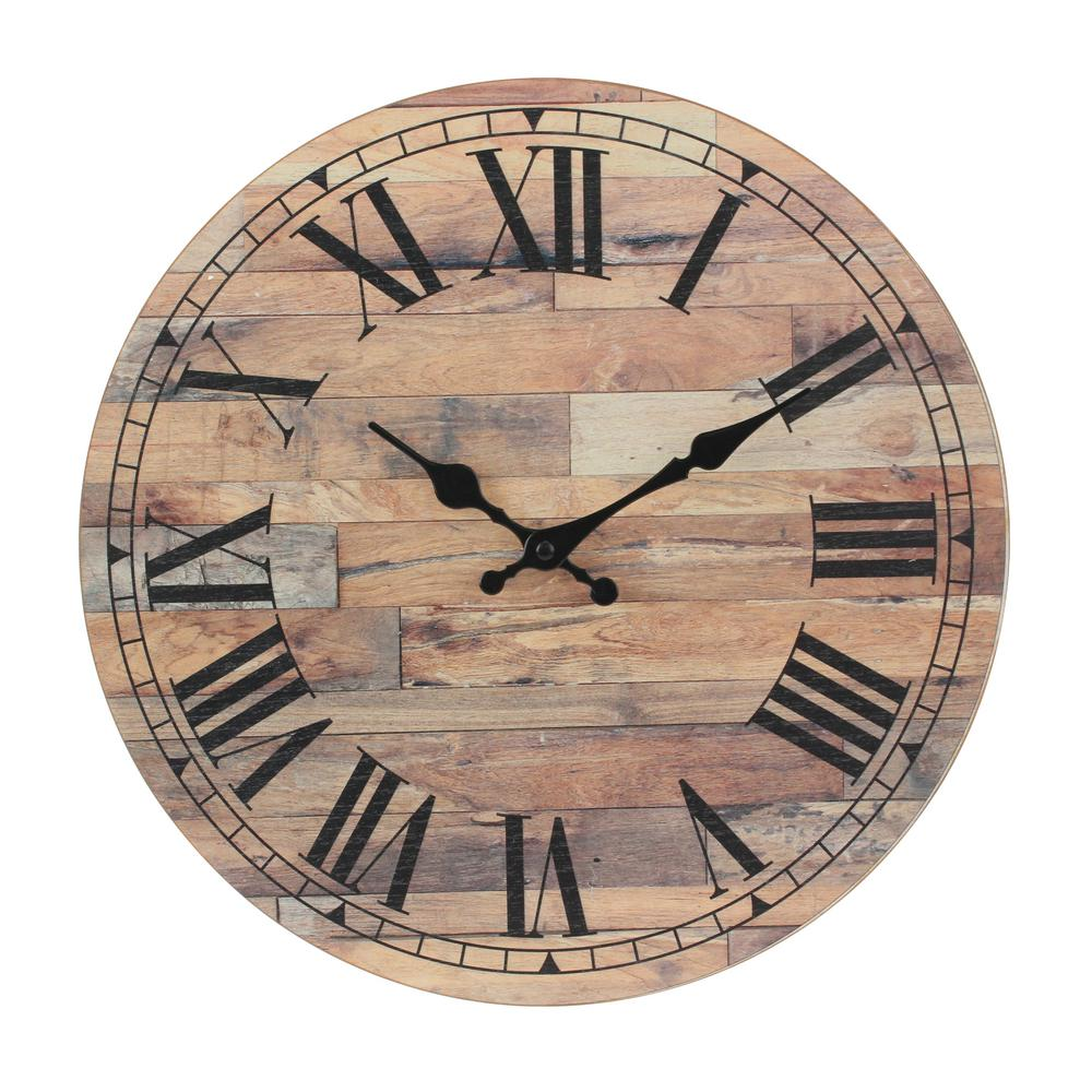 & Wall Clock Stonebriar Collection Natural Wood Roman Numeral Wall Clock