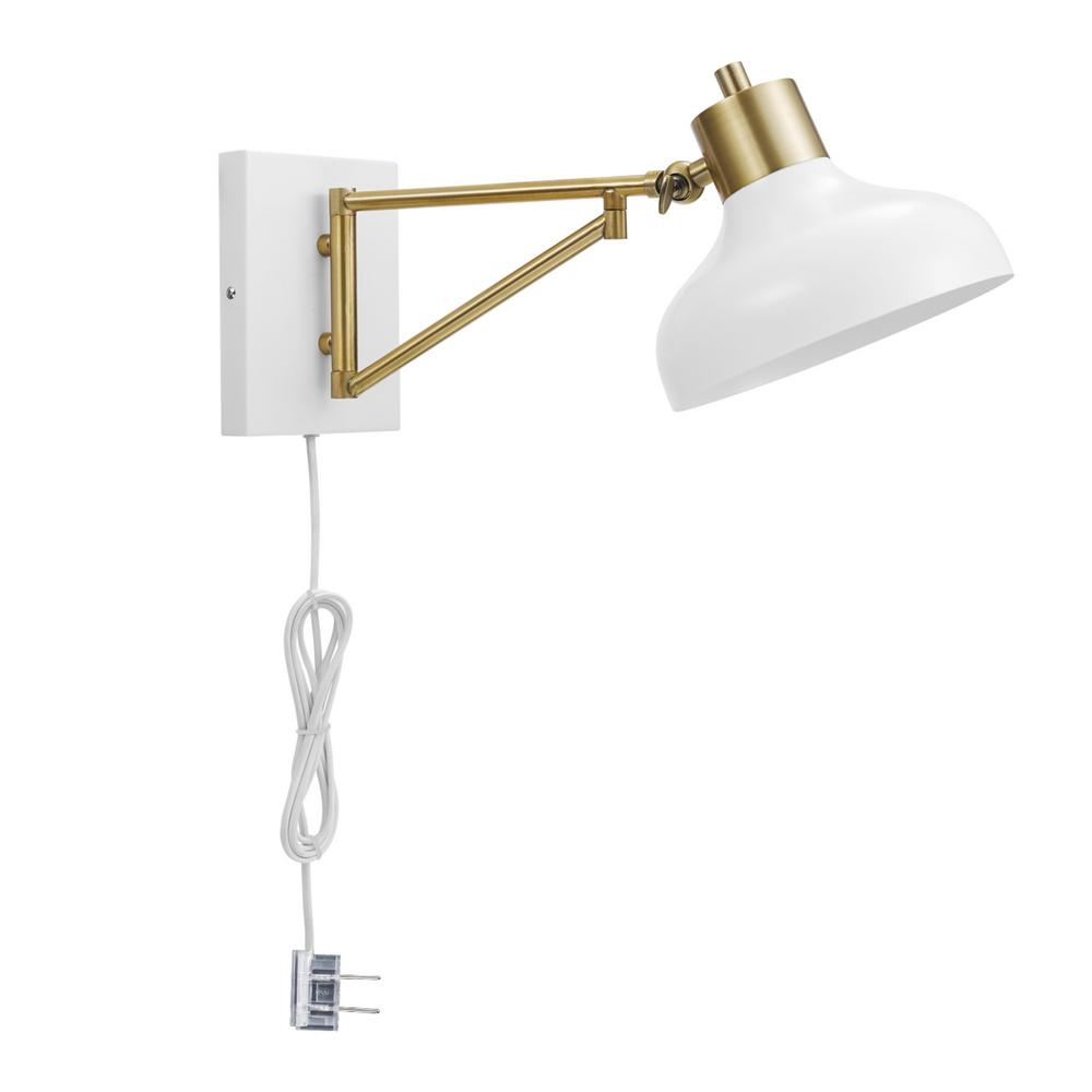 Swing Wall Lamp Globe Electric Berkeley 1 Light White And Brass Plug In Or Hardwire Swing Arm Wall Sconce