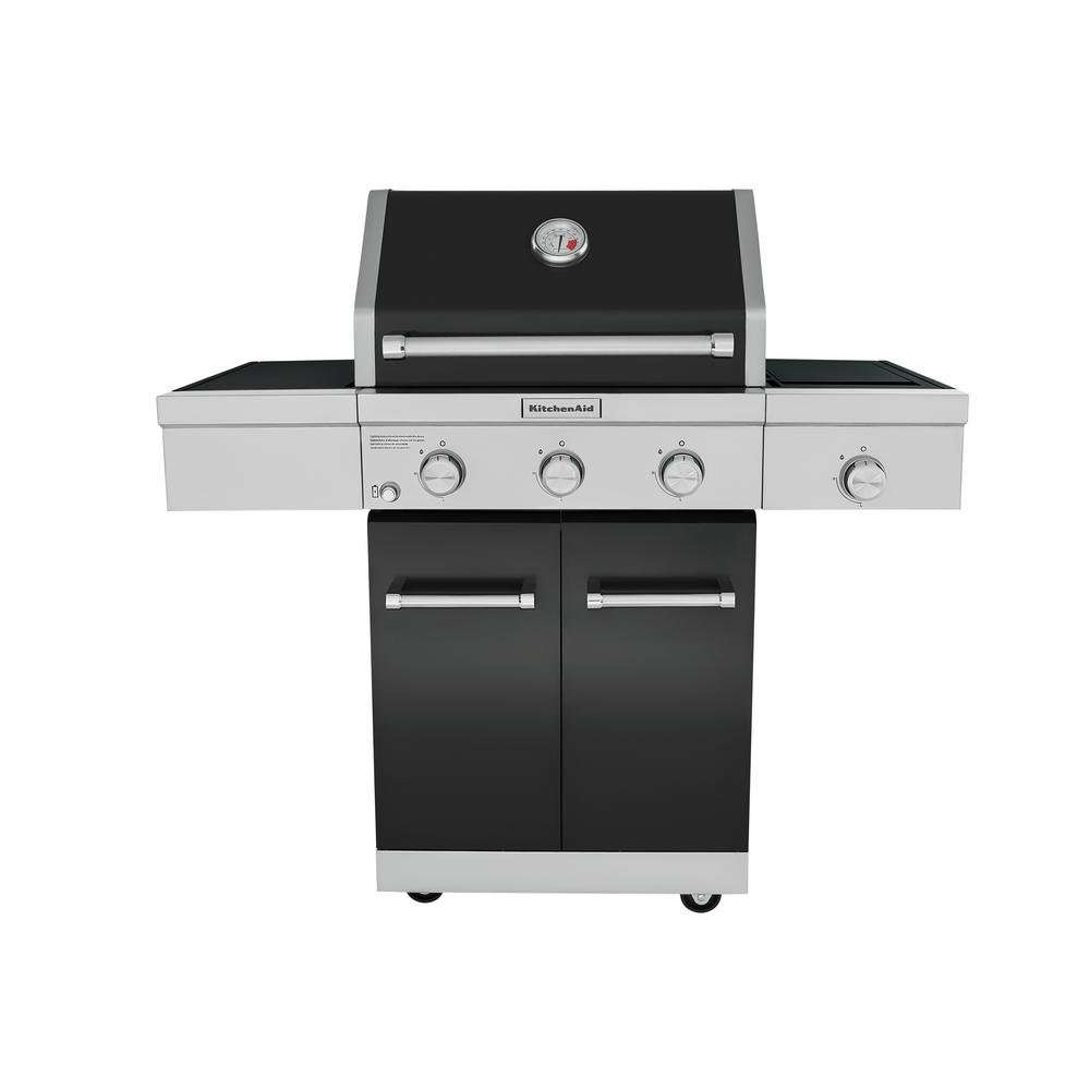 Barbecue Gaz Promotion Kitchenaid 3 Burner Propane Gas Grill In Black With Ceramic Sear Side Burner