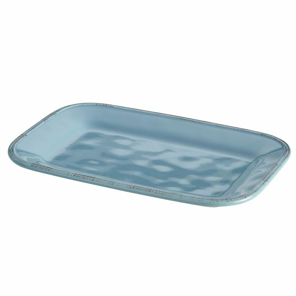 Cucina Kitchen Products Cucina Dinnerware 8 In X 12 In Stoneware Rectangular Platter In Agave Blue