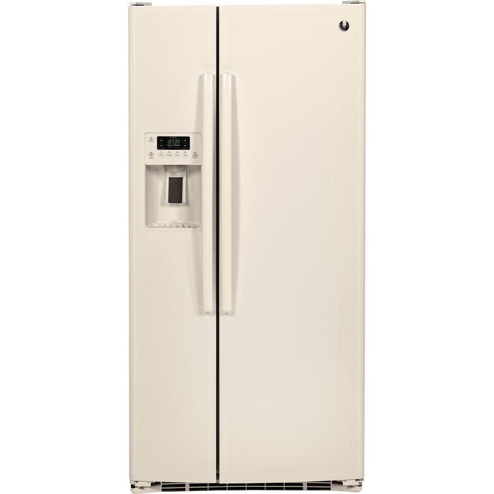 Home Depot Fridges Canada 23 2 Cu Ft Side By Side Refrigerator In Bisque Energy Star