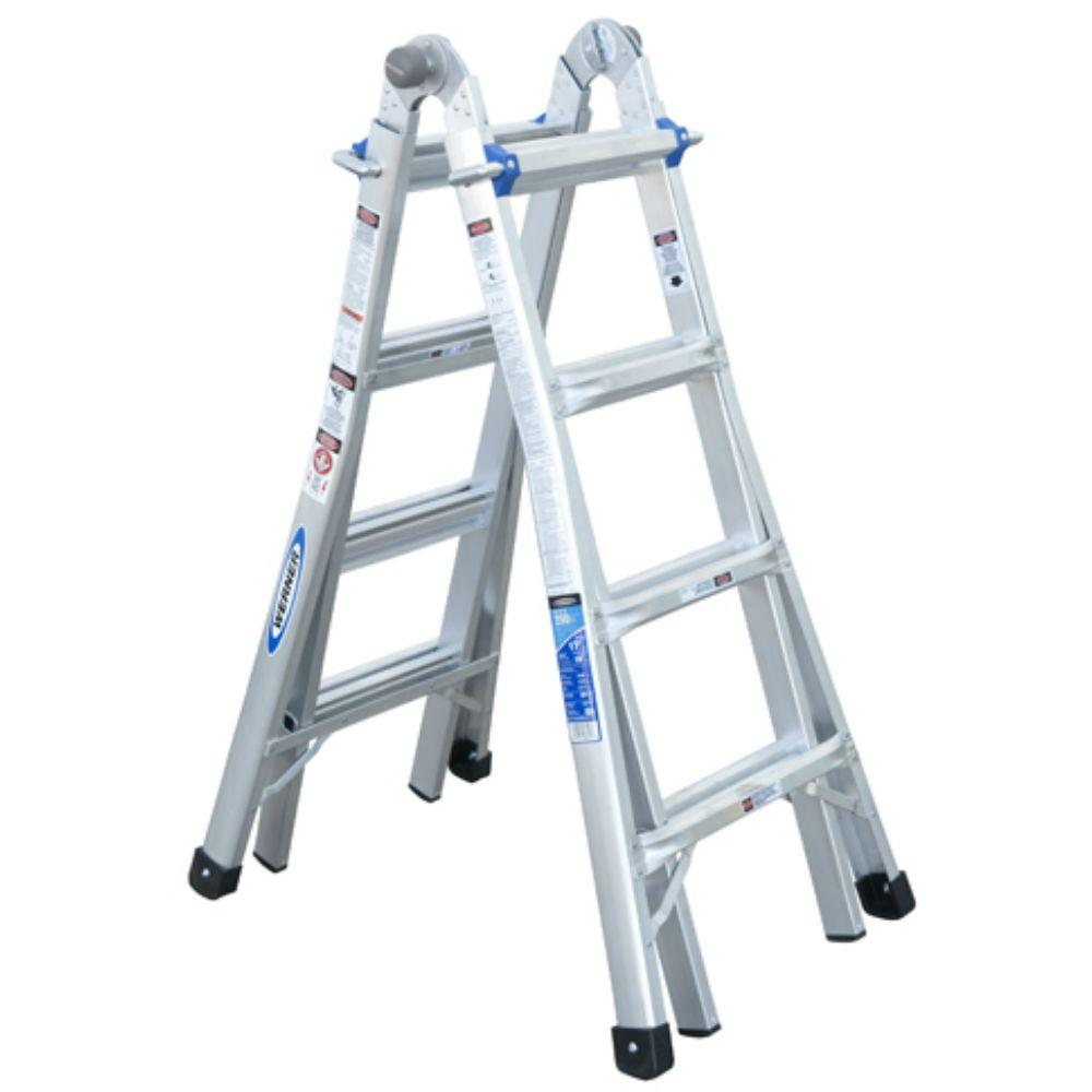 Werner Multiposition Ladder Multi Position Ft Aluminum Lb Werner 17 Ft. Reach Aluminum Telescoping Multi-position