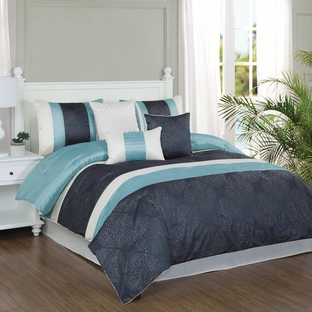 Charcoal Bedding Sets Studio 17 Glorious Dusty Aqua Charcoal Ivory 7 Piece Full Queen