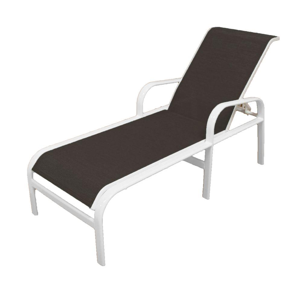 White Plastic Sun Loungers Marco Island White Commercial Grade Aluminum Outdoor Patio Chaise Lounge With Metallica Smoke Sling