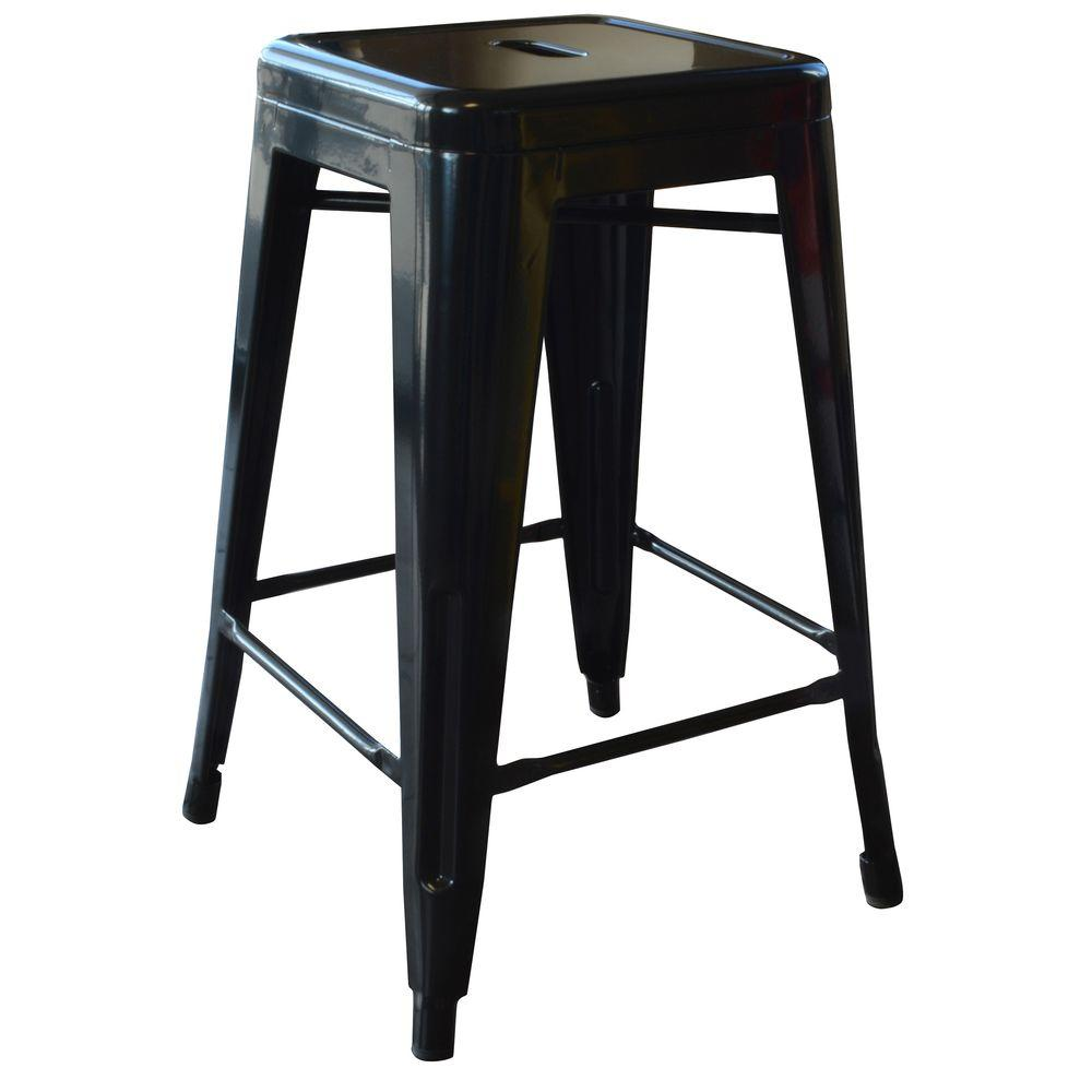 Tabourets Walmart Loft Style 24 In Stackable Metal Bar Stool In Black