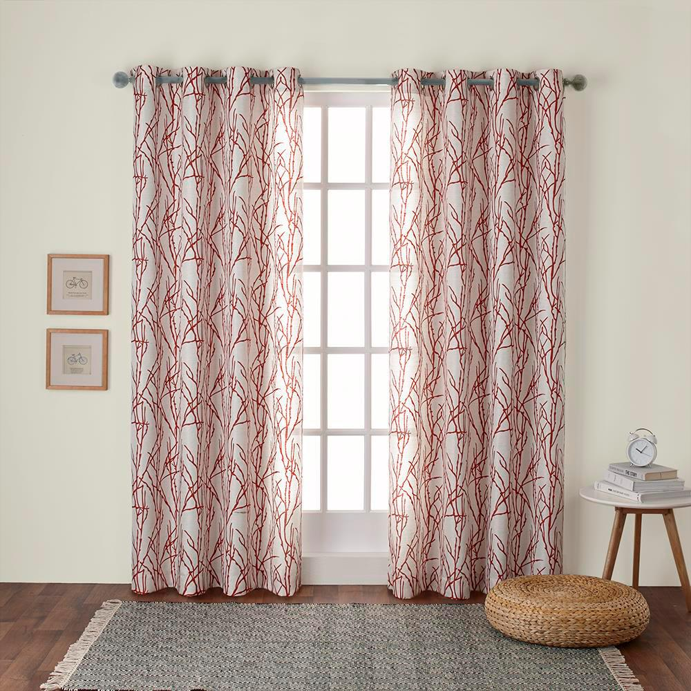 Orange Curtain Panels Branches 54 In W X 84 In L Linen Blend Grommet Top Curtain Panel In Mecca Orange 2 Panels