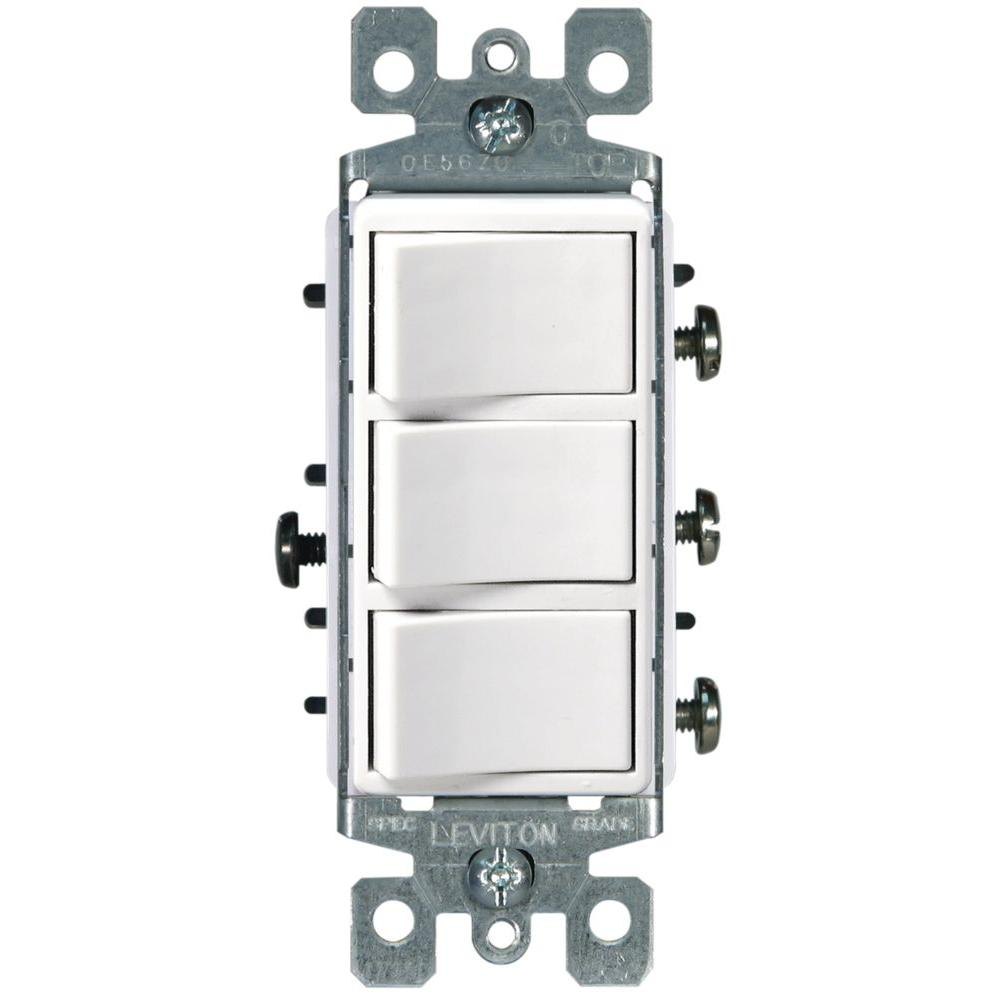 Switch Light Leviton Decora 15 Amp 3 Rocker Combination Switch White