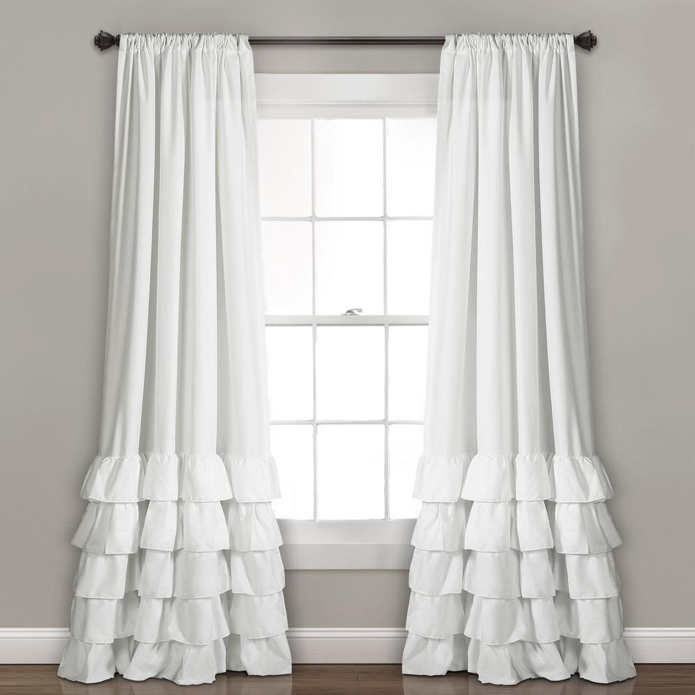 Ruffle Curtain Panel Lush Decor White Allison Ruffle Window Panel 84 In X 40 In 2 Piece