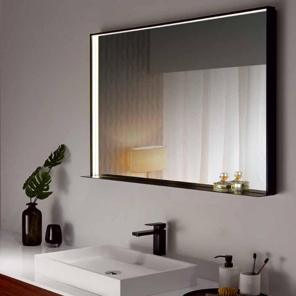 Dreamwerks 40 In W X 24 In H Framed Rectangular Led Light Bathroom Vanity Mirror In Black Dmlh013 The Home Depot