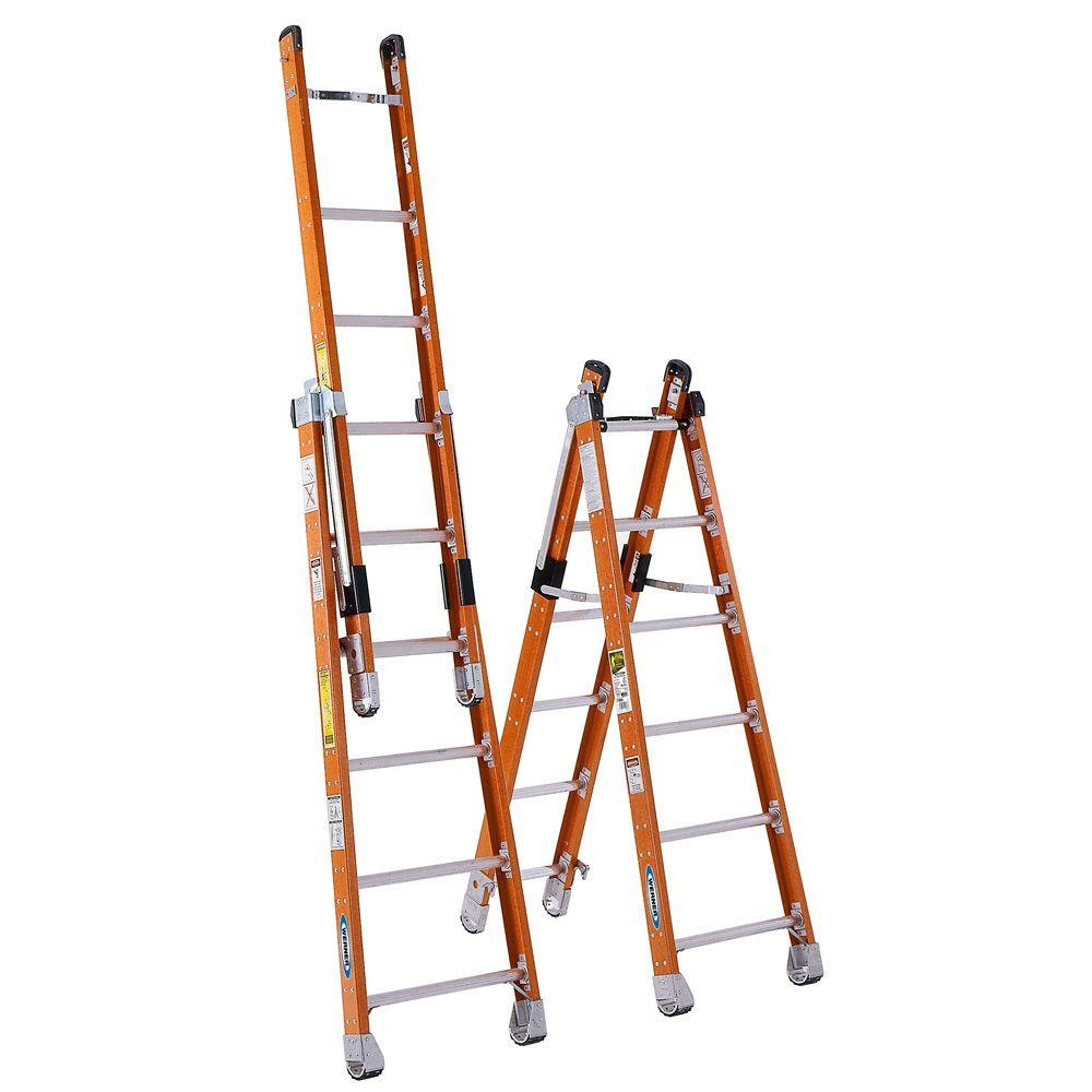 Werner 12 Ft Fiberglass Combination Ladder With 375 Lb