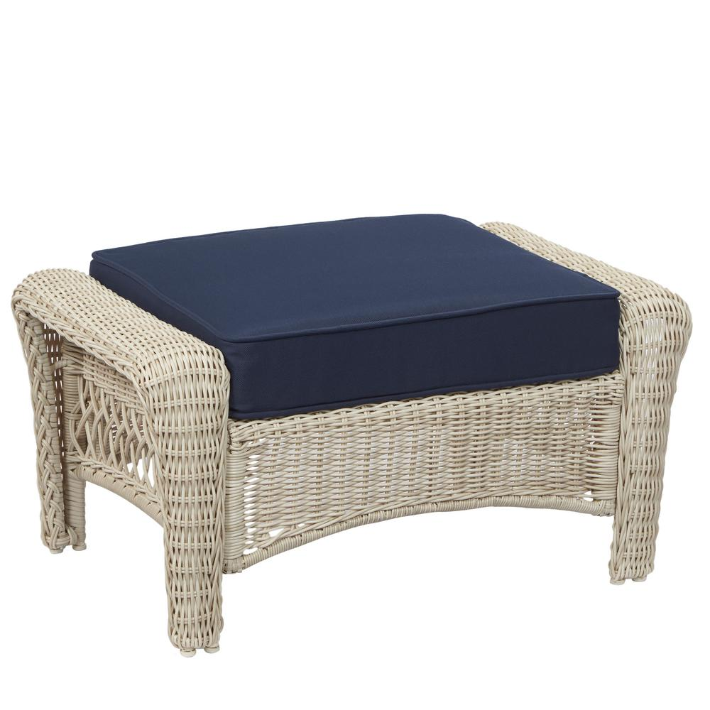Wicker Ottoman Hampton Bay Park Meadows Off White Wicker Outdoor Ottoman With Midnight Cushion
