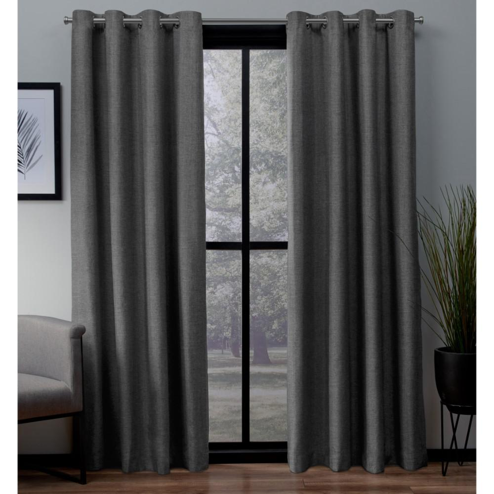 Grey Thermal Curtains London Charcoal Textured Linen Thermal Grommet Top Window Curtain