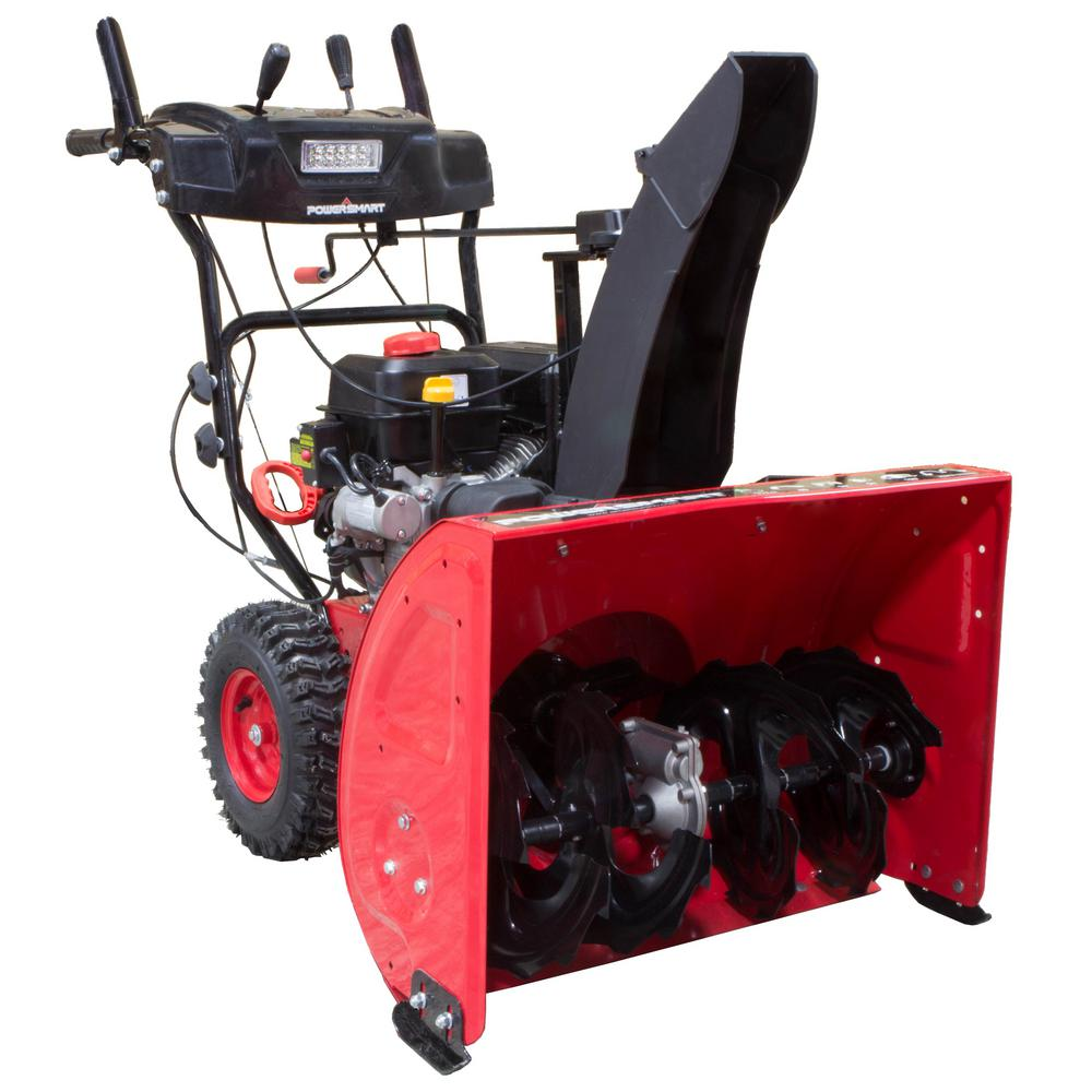 Used Snow Blowers Powersmart 27 In 212 Cc 2 Stage Electric Start Gas Snow Blower With Led Headlight