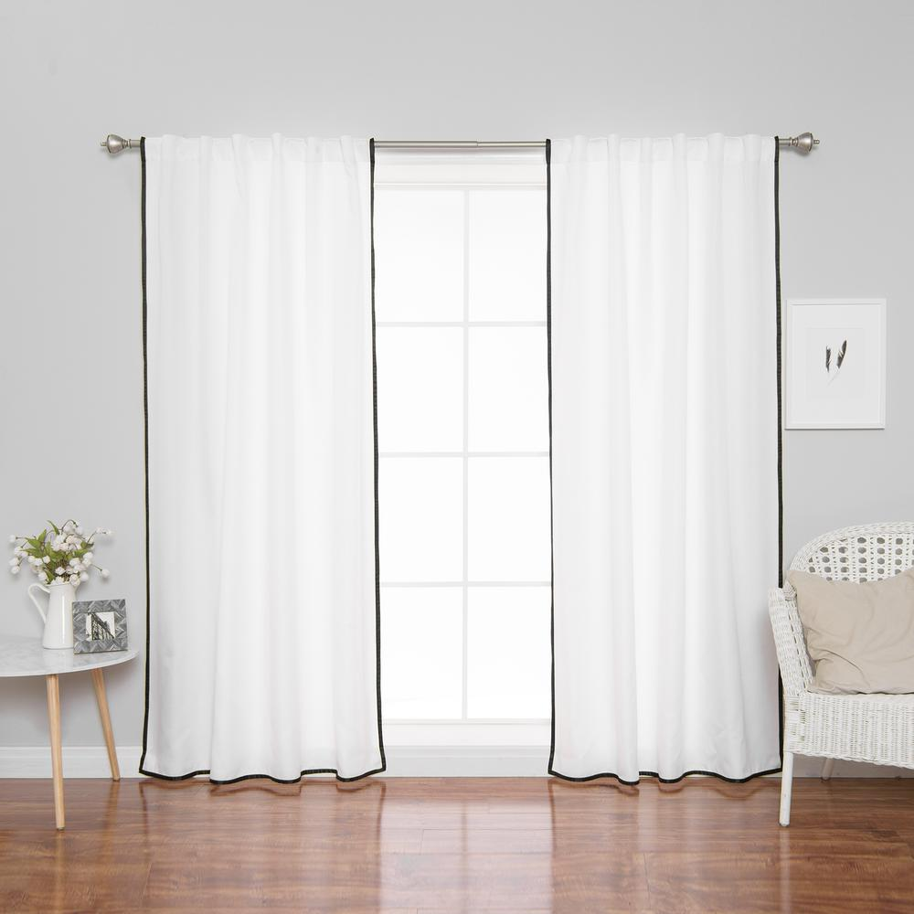 How To Make Curtain Lights 96 In L Polyester Oxford Thin Black Border Curtains In White 2 Pack