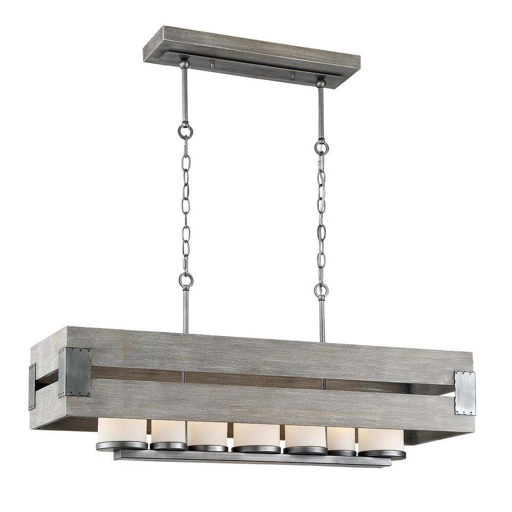 Chandelier Height 10 Foot Ceiling Home Decorators Collection Ackwood 7 Light Grey Wood Rectangular Chandelier With White Opal Glass Shades