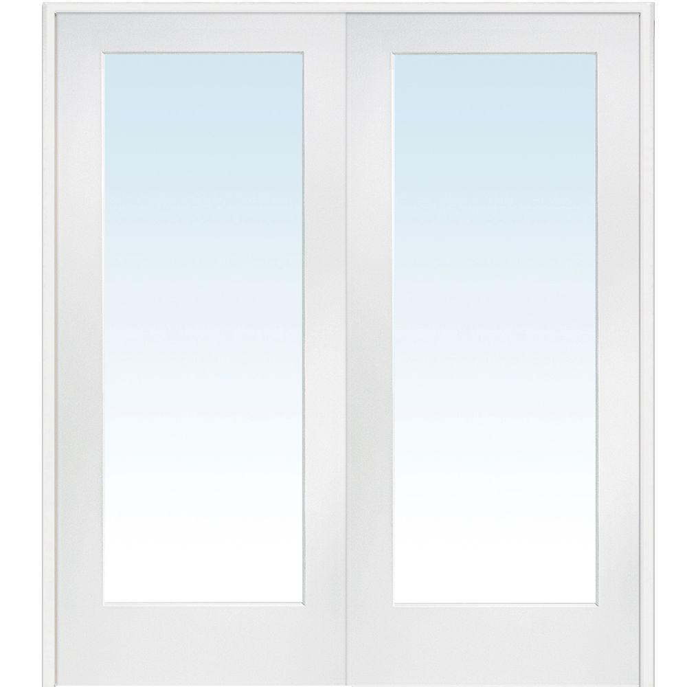 Soundproof Windows Home Depot 60 In X 80 In Both Active Primed Composite Clear Glass Full Lite Prehung Interior French Door
