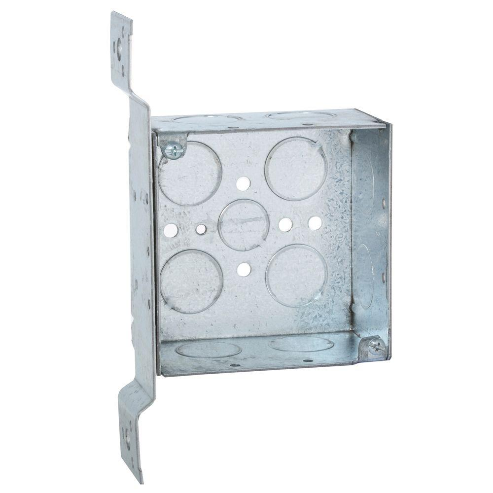 Square Box Raco 4 In Square Box Welded 2 1 8 In Deep With 1 2 3 4 In Ko S And Fm Bracket 25 Pack