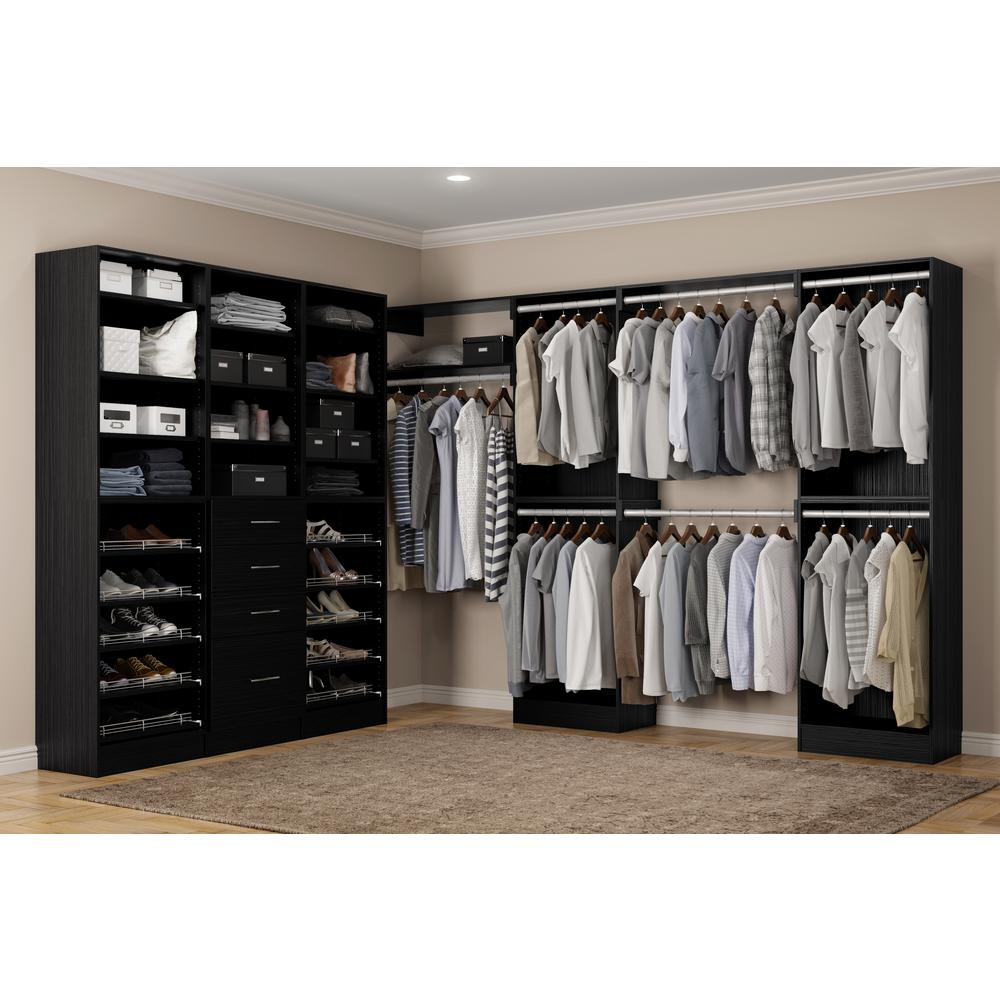 Walkin Closet Cabinets Home Decorators Collection Calabria Walk In 15 In D X 243 In W X 84 In H Twilight Wood Closet System