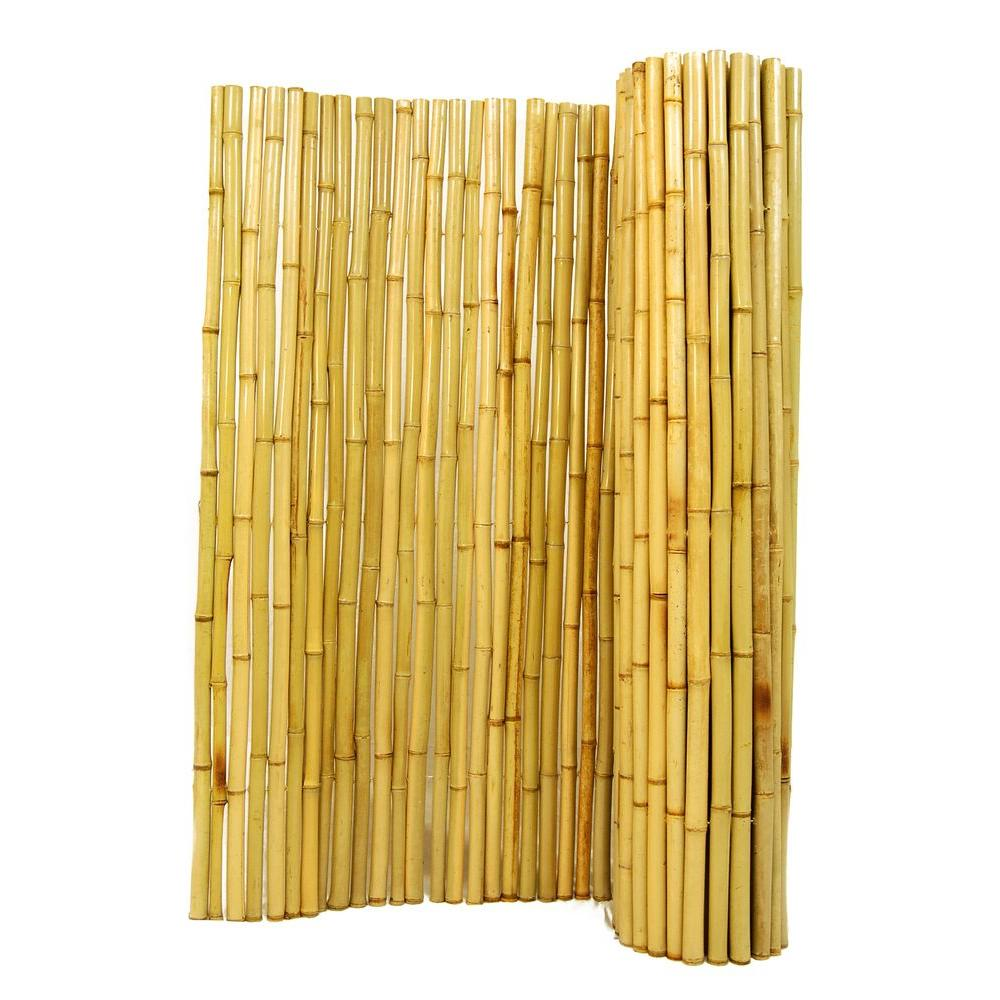 Bamboo Fence Canada Backyard X Scapes 6 Ft H X 8 Ft W X 1 In D Natural Rolled Bamboo Fence Panel