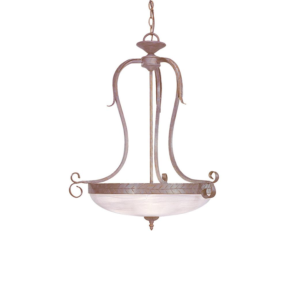 Brisbane Lighting Volume Lighting Brisbane 3 Light Interior Indoor Prairie Rock Hand Forged Wrought Iron Hanging Pendant With Alabaster Glass Bowl