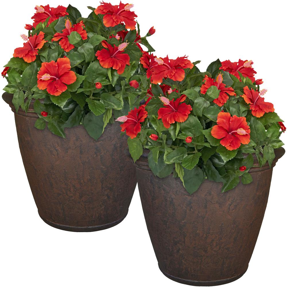 Unique Outdoor Flower Pots Sunnydaze Decor 24 In Rust Anjelica Resin Outdoor Flower Pot Planter 2 Pack