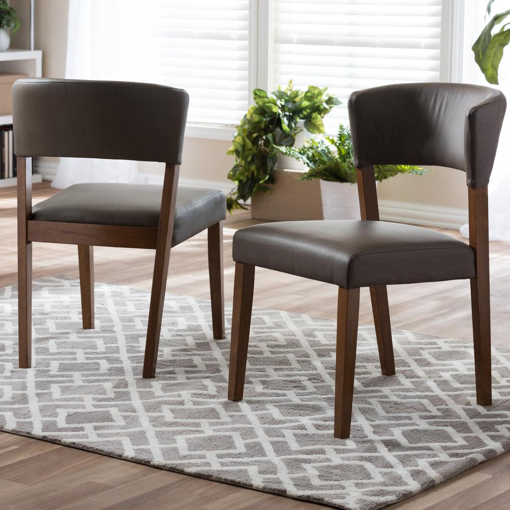 Baxton Studio Montreal Gray Faux Leather Upholstered