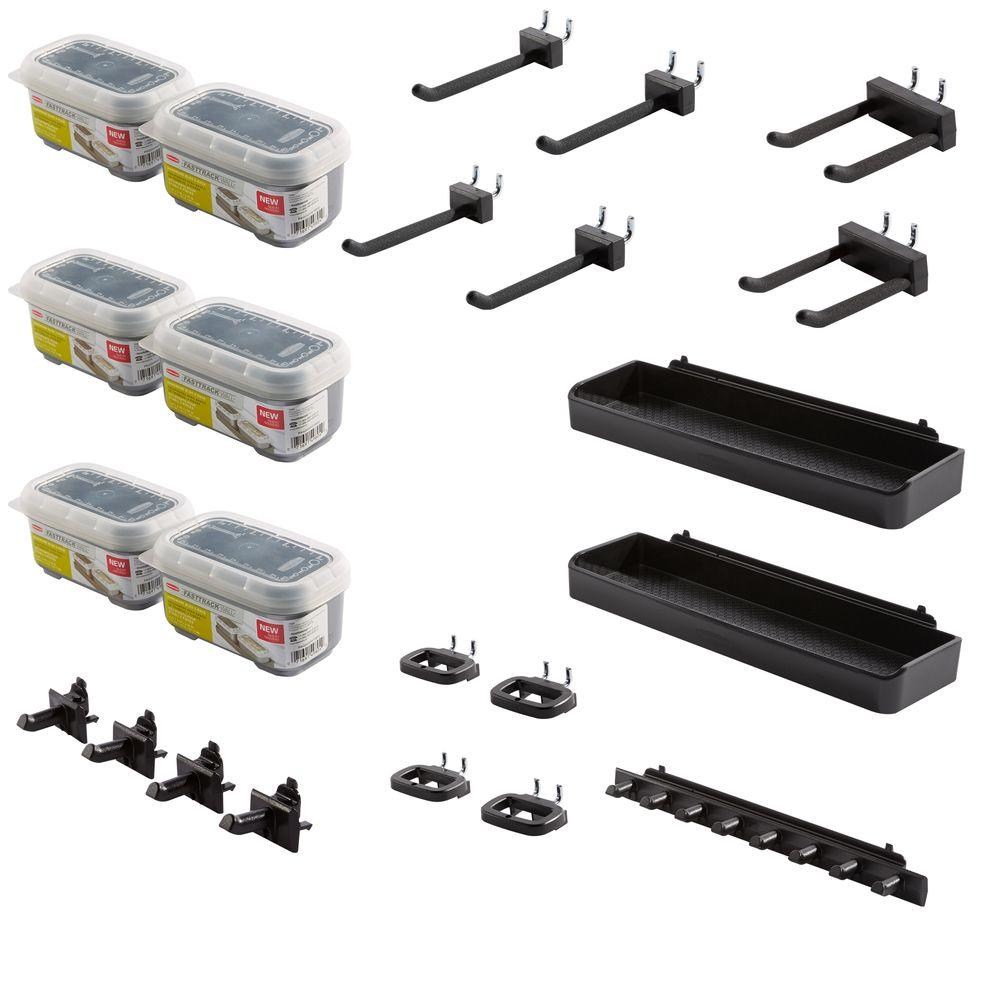 Accessories For Garage Rubbermaid Fasttrack Garage Wall Panel Accessory Kit 13 Piece