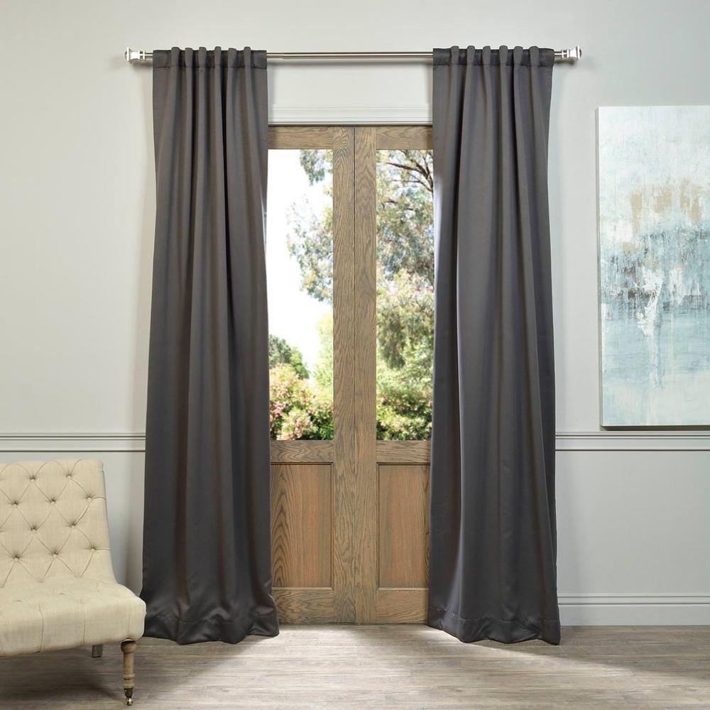 Curtain Insulation Fabric Exclusive Fabrics Furnishings Semi Opaque Anthracite Grey Blackout Curtain 50 In W X 84 In L Panel
