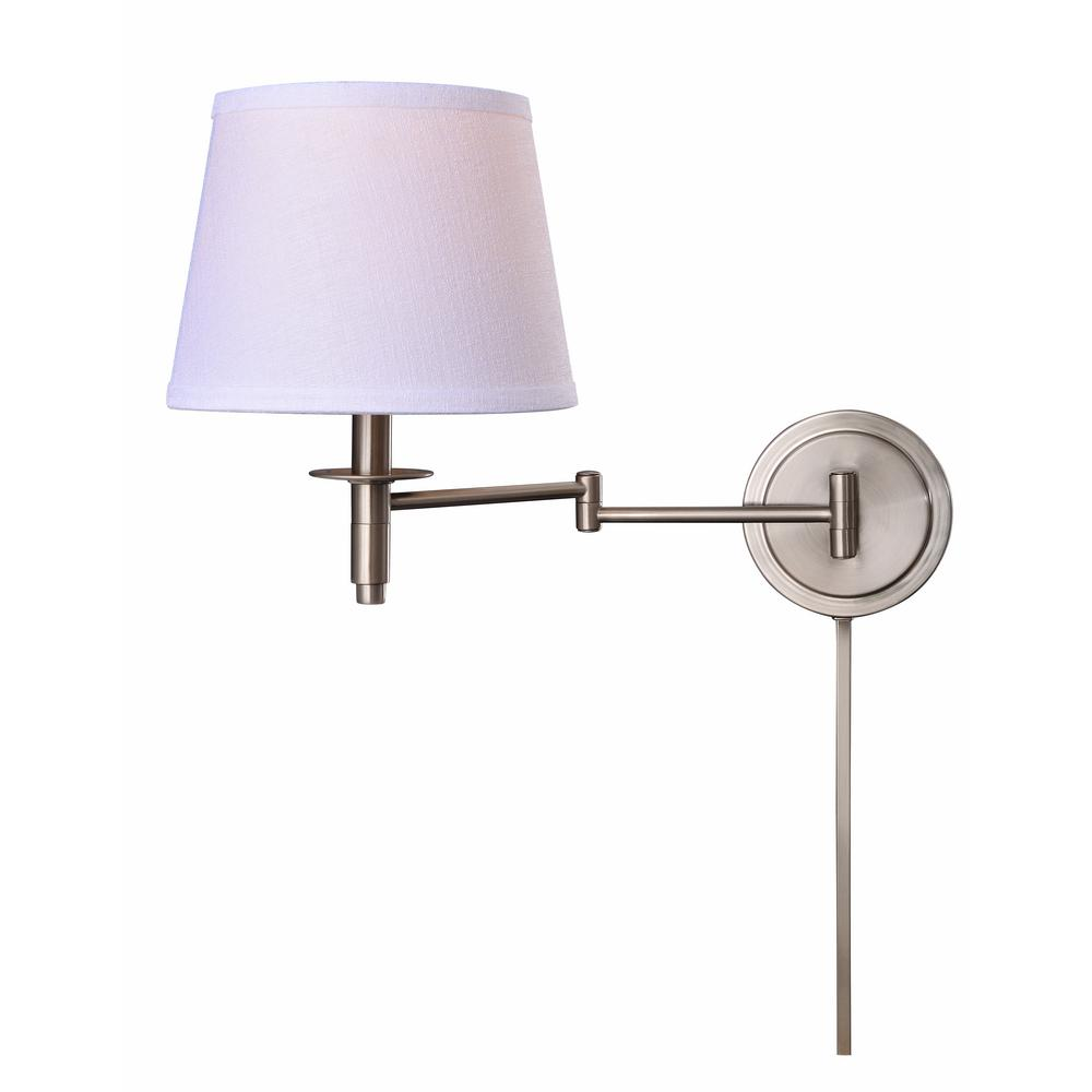 Arm Lamp Manor Brook Metropolitan 1 Light Brushed Steel Wall Swing Arm Lamp With Cord Cover