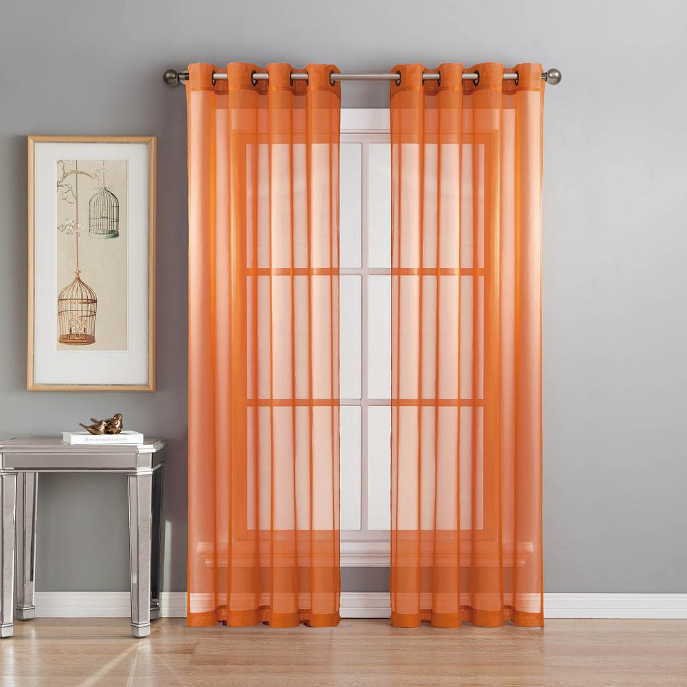 Window Elements Sheer Diamond Sheer Voile Orange Grommet - Vorhang Orange