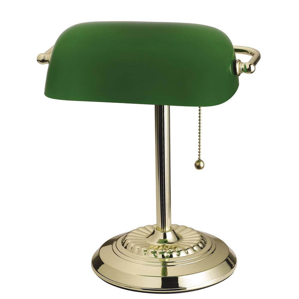Desk Lamp Tensor 14 5 In Brass Banker S Desk Lamp With Green Shade