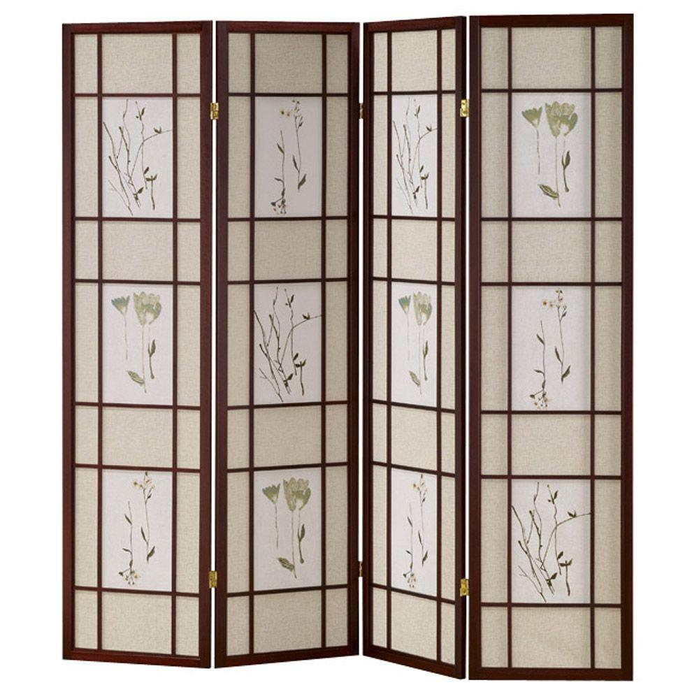 Room Dividers Home Depot 5 83 Ft Cherry 4 Panel Room Divider