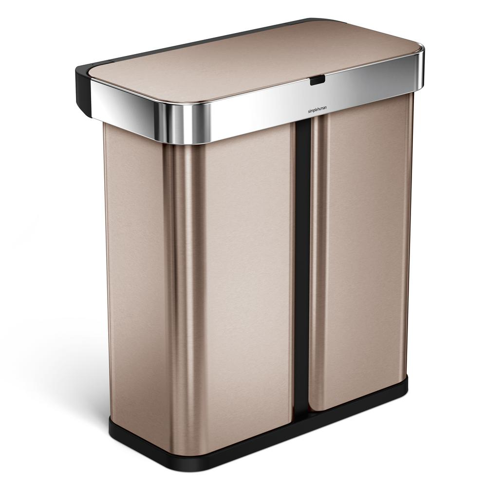 Rectangular Bin Simplehuman 15 3 Gal Rose Gold Stainless Steel Dual Compartment Rectangular Sensor Recycling Trash Can With Voice Motion Control