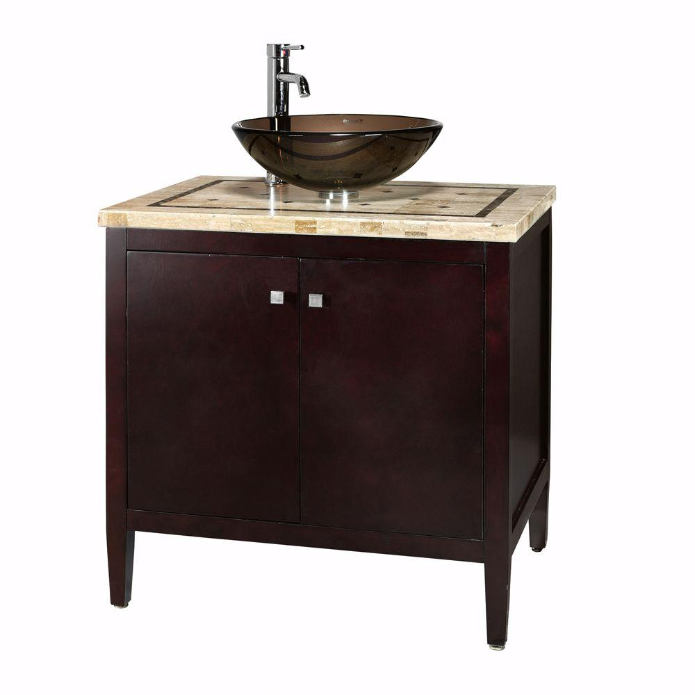 Small Bathroom Vanity With Sink Home Decorators Collection Argonne 31 In W X 22 In D Bath Vanity In Espresso With Marble Vanity Top In Brown With Glass Sink