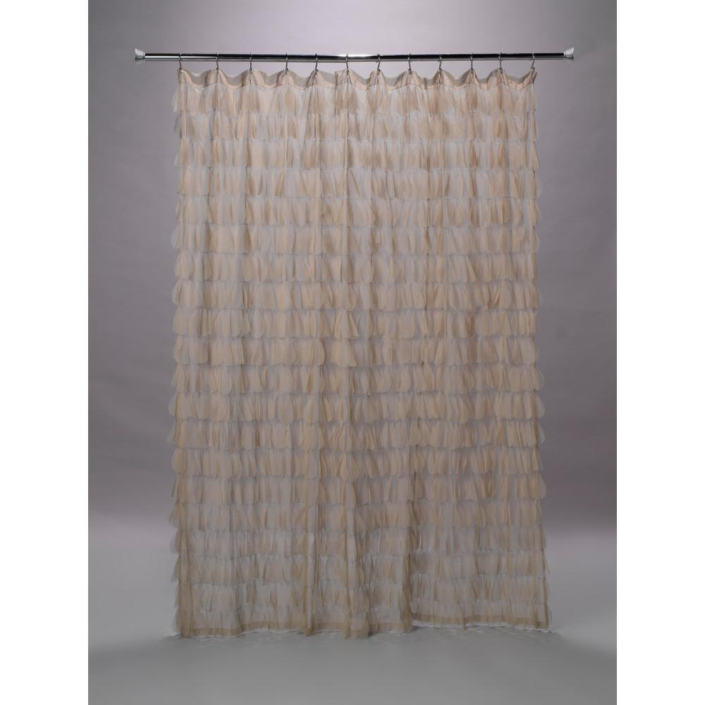How To Make Shower Curtain Chichi 76 In Sable Cascading Tulle Petal Shower Curtain
