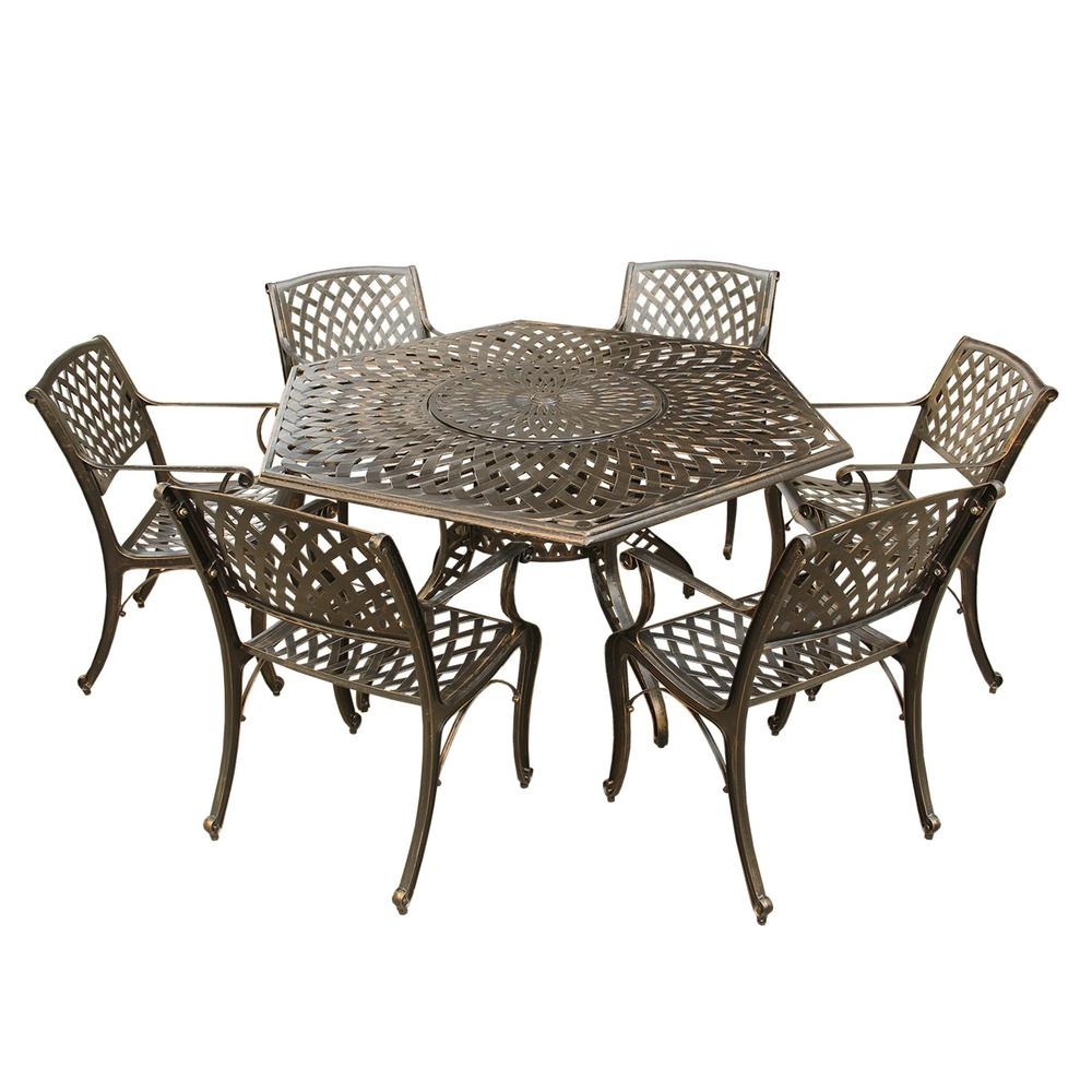 Modern Table And Chairs Contemporary Modern 7 Piece Aluminum Bronze Hexagon Outdoor Dining Set With Lazy Susan And 6 Chairs