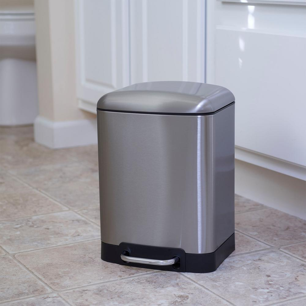 Elegant Trash Can Household Essentials 6 L Crescent Rectangular Stainless Black Band