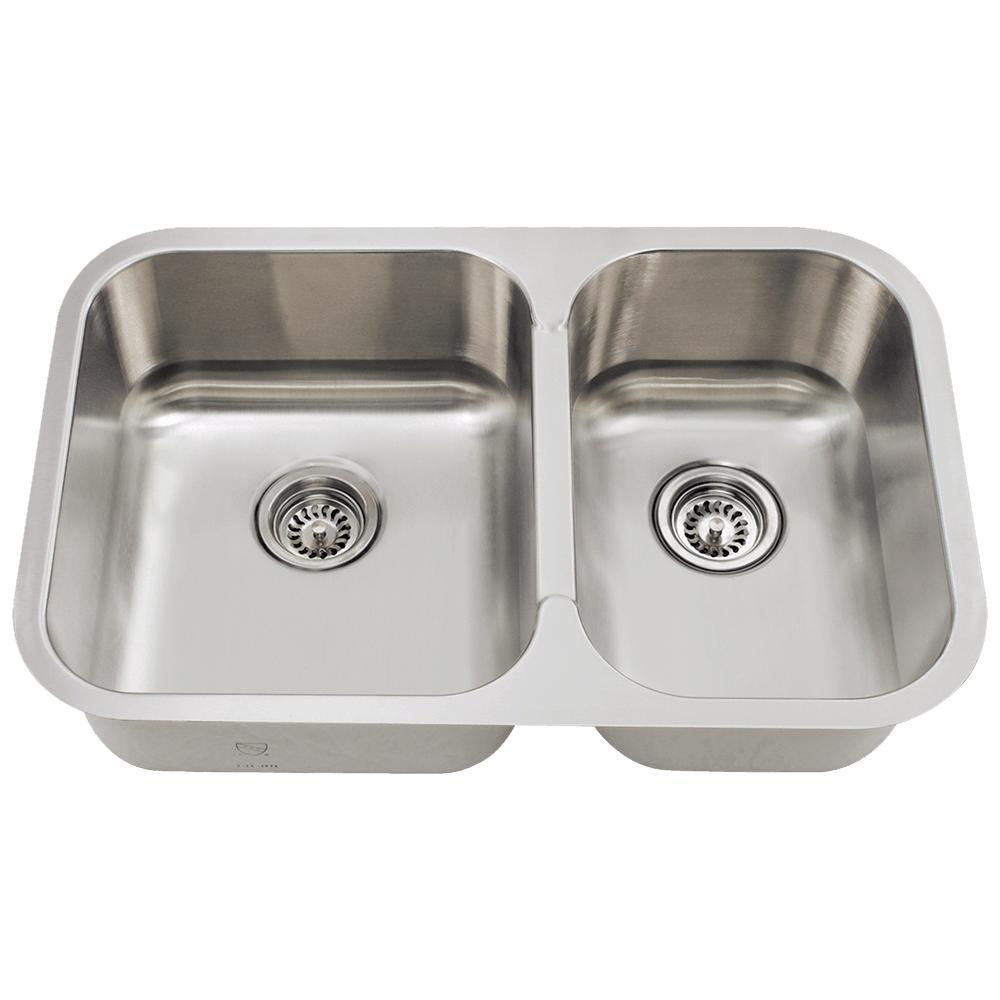 Mr Direct Undermount Stainless Steel 28 In Double Bowl