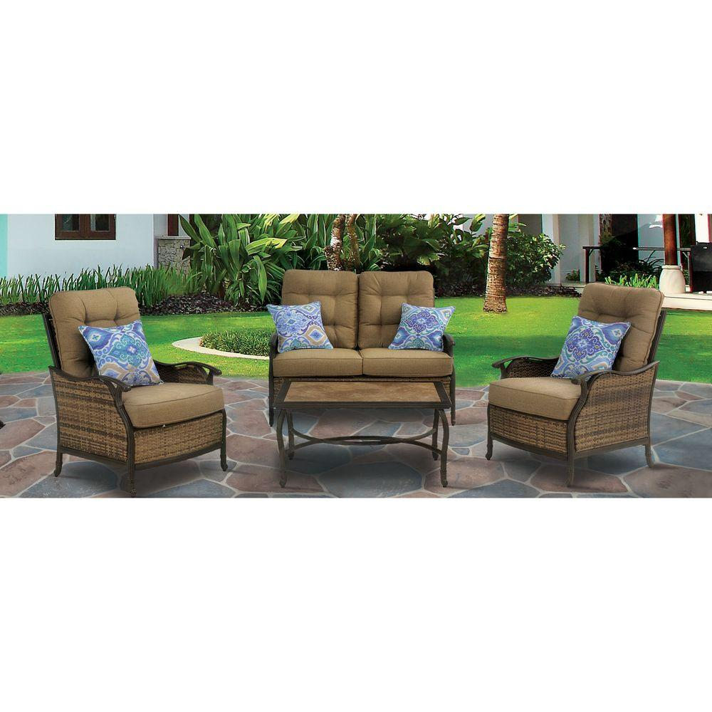 Hudson Sofa Collection Reviews Hanover Hudson Square 4 Piece Deep Seating Patio Lounge Set With Teak Cushions