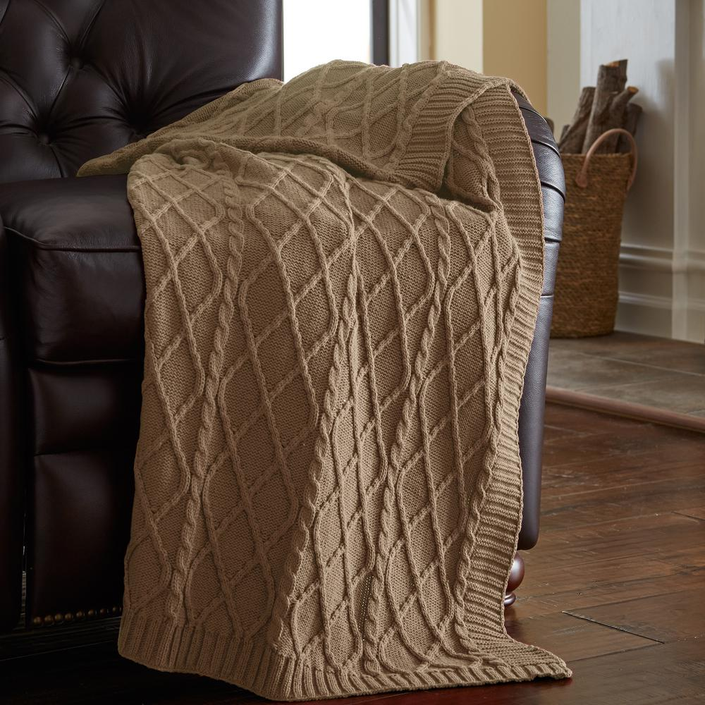 Sofa Throws Knitted Coffee 100 Cotton Oversized Cable Diamond Knit Throws