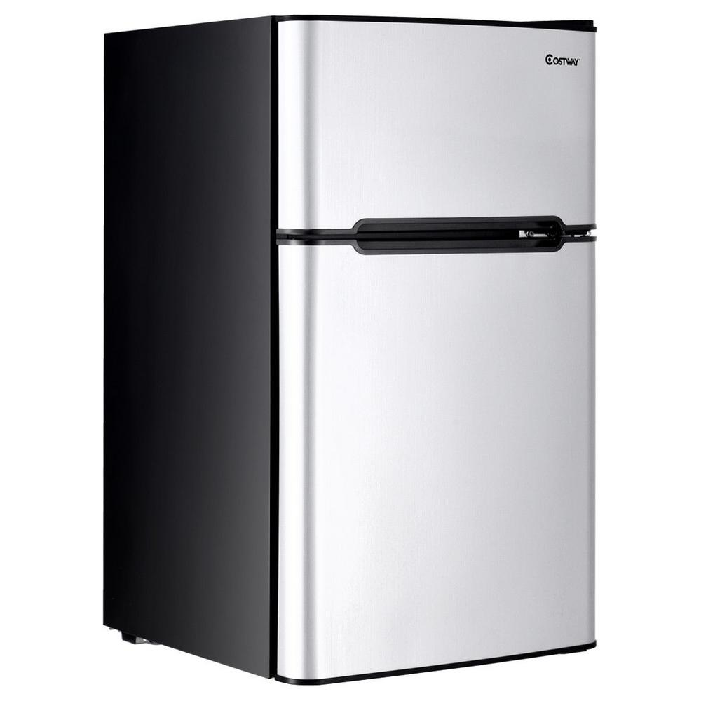 Mini Fridge And Freezer Costway Stainless Steel 3 2 Cu Ft Mini Fridge Small Freezer Cooler Fridge Compact Unit In Gray